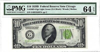 1928 B $10 Chicago Federal Reserve Note Light Green Seal PMG CU64 EPQ Pristine