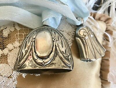 Two Antique Art Nouveau Baby Rattle Bells German Silver Lovely Designs
