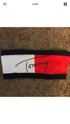 ,New Vintage TOMMY HILFIGER Womens Small Spell Out Bandeau Bra Top Red Navy Blue