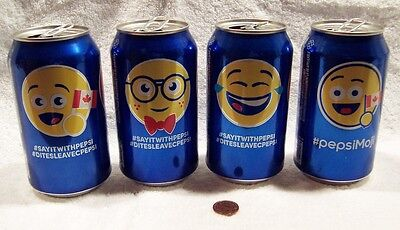 2016 Pepsi Collector Character Face Lot of (7) Empty Pop Cans With Pull Tags