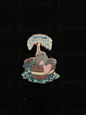 Disney Dumbo Sitting In Round Wooden Bath Tub Spraying Water Bubbles Pin