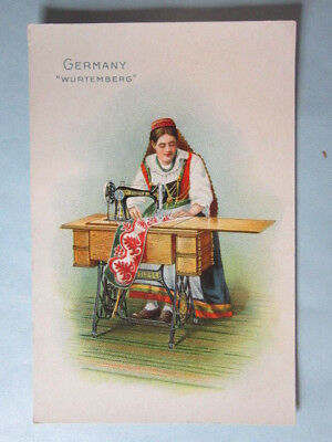 Antique Advertising- 1890s, Singer Sewing Machine country card - Germany
