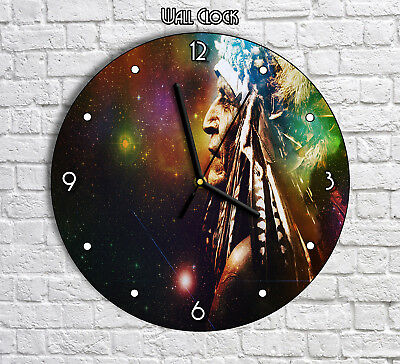 Native American Indian Galaxy Artwork - Round Wall Clock For Home Office Decor