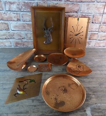 Large Job Lot Of Mixed Copper Pieces To Include Clock, Trays & Dishes.