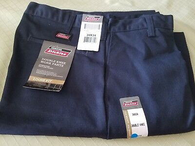 New Men's Dickies Double Knee Navy Blue Loose Fit Work Pants Size 34 X34