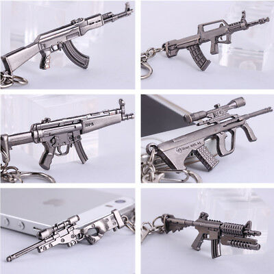 Keychain Military ​Pistol Gun Model Weapon Metal Silver Keyring Key Chain Men's