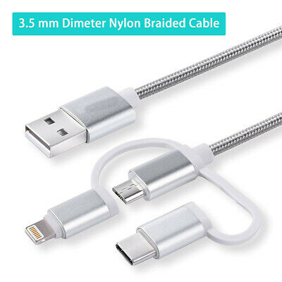 1m Micro USB-C 3 in 1 Lightning Braided Quick Charging Sync Cable for iPhone LG