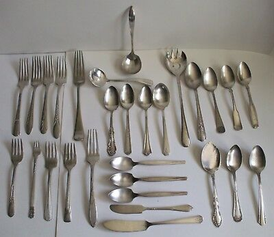 Mixed Lot of 29 Silver Plate Flatware Knives Forks Spoons Ladel Cocktail Fork