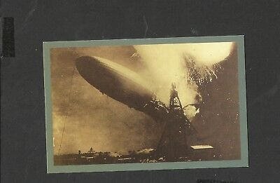 Nostalgia Postcard German airship Hindenburg Explodes  1937