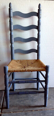Old Ladderback Chair with Rush Seat