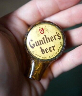 Antique Vtg 1940's Gunther's Beer Ball Tap Handle Knob Baltimore Gunther Brewing