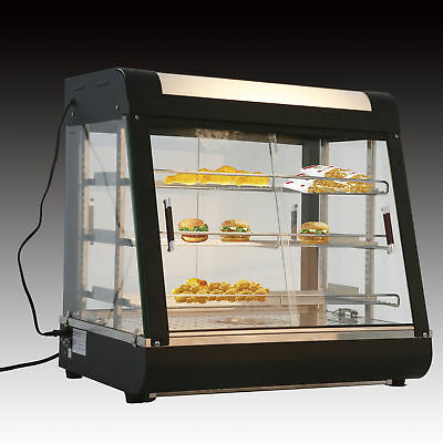 "Commercial Food Warmer Court Heat Food pizza Display Warmer Cabinet 27"" Glass"