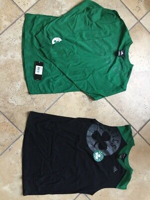Adidas Boston Celtics Boys Tshirt Brand New Green NBA Basketball 2 Piece Set