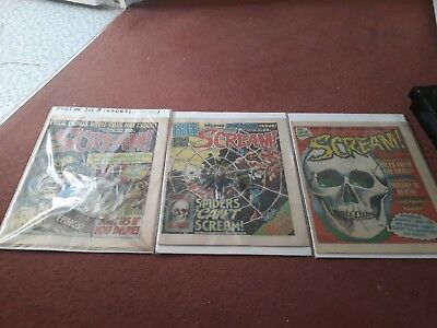 Scream Comic issues 1,2,3, 1 and 2 with free gifts. IPC Fleetway