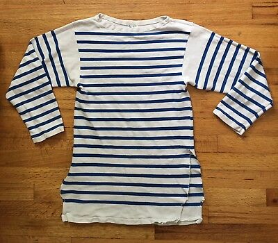 Vintage 60s Striped French Navy Sailor Boat Neck Nautical Thrashed Shirt XS