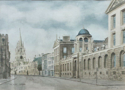 Chris Haines 'Watercolour (not oil) painting of 'The High Street, Oxford'