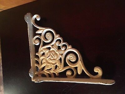 Vintage Wrought Iron Corbel Shelf Bracket Rose Architectural Decorative Antique
