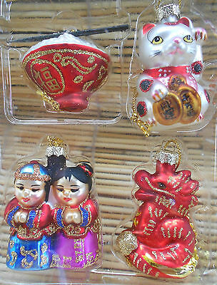 4 Nib  Mini Asian Holiday Glass Ornament Set Maneki Dragon Rice Bowl Friends