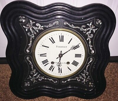 Antique French Napoleon Iii Ebonized Prayer Clock W/ Mother Of Pearl Inlay