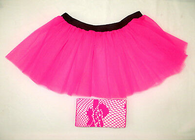 Long Neon UV Pink Red 7 Layers Tutu Skirt Dance Wear Hen Night Party Club Rave
