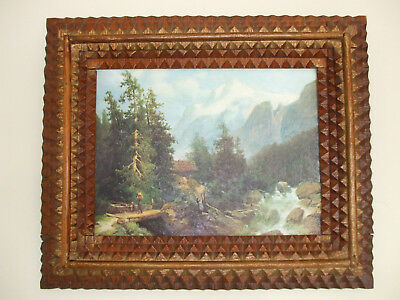 "Vintage Tramp Art Picture Frame - Folk Art - Hand Crafted - French - 14"" x 12"""