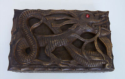 Vintage Hand Carved Chinese Dragon Trinket Box For Repair