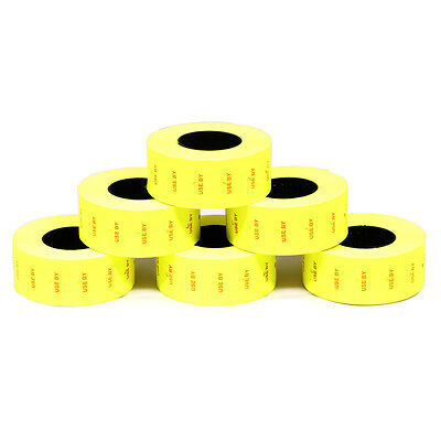 Price Gun Labels (10 Rolls) Fluorescent YELLOW Use By 21 x 12mm fits MoTEX CT1