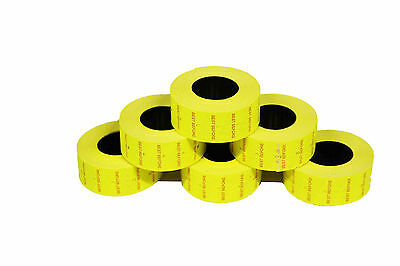 12,500 (10 Rolls) FL Yellow Best Before  Peelable CT1 22 x 12mm Price Gun Labels