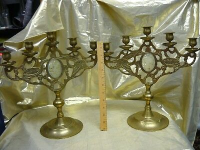 Pair of Vintage Chinese Brass Candelabra with Carved Stone Insets