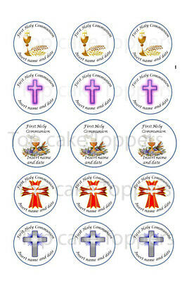 30x edible First Holy Communion Cupcake Toppers wafer /icing sheets personalised