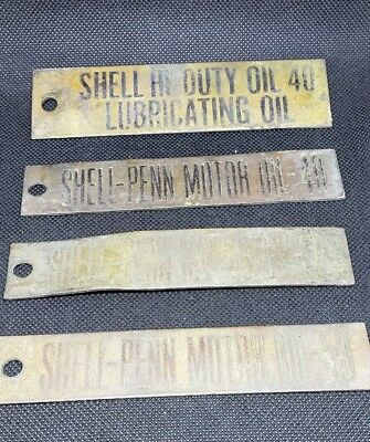 4 Vintage Shell Motor Oil heavy Brass signs, tags for different weight oils