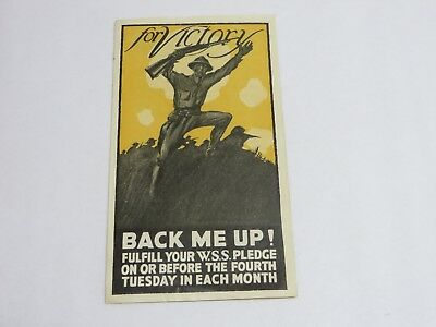 "ORIGINAL 1918 WW 1 Brochure  ""For Victory-Back Me Up""  WAR SAVINGS PLEDGE-WSS"