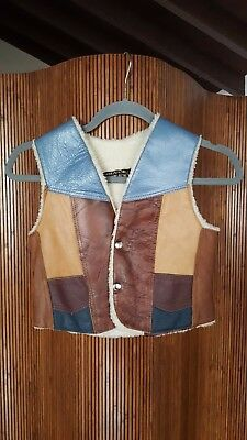 Vintage Genuine Blue Brown Leather Button Patch Work Vest Kids' Size LARGE