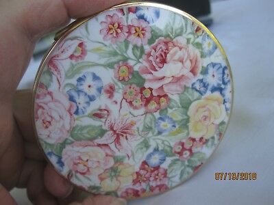 Vintage Stratton Powder Compact Enamel Floral Gold Tone Made In England