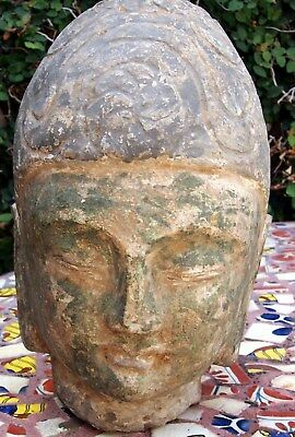 Buddha Rare Cambodia Angkor Period  Carved Stone Very Rare With Base.very Heavy