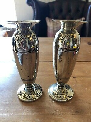 """Vintage Pair Of Art Deco Epns Silver Plate 6.5""""-Tall Vases"""