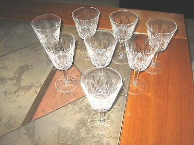 """4 Vintage Signed Waterford Lismore Claret Wine Goblets 5 7/8"""" tall EUC"""