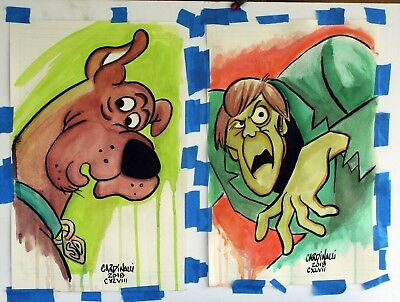 Scooby-Do and The Creeper original watercolor paintings Rut Roh!