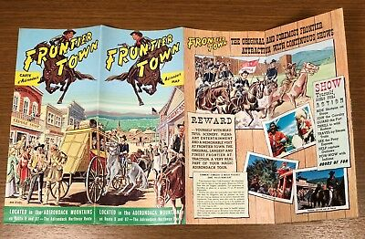 Frontier Town NY Western Cowboys Vintage Travel Brochure New York Adirondacks