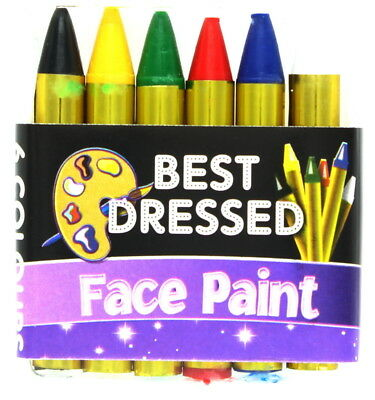 Best Dressed Face Paint Crayons Halloween Fancy Dress Theatrical Make-Up - 6 pc