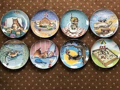 "8 Gary Patterson Cat Plates From ""comical Cats"" Collection — Danbury Mint — 8"""