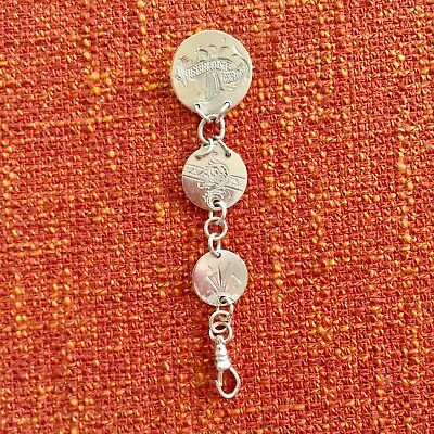 Antique Love Token Fob Chain Pin Brooch Silver 1800's Usa Coins Rare Etched
