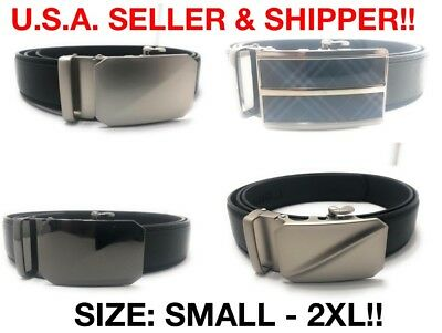 MENS LEATHER SLIDER AUTOMATIC RATCHET BELTS Sizes 30-54 inches