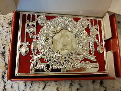 Lenox Our Family Christmas Photo Album w box SILVER PLATED Christmas 4x6 Picture