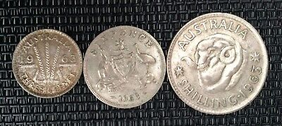 1963 3d threepence, 6d sixpence, 1/- one shilling **72