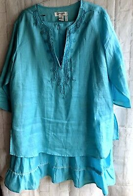 Giorgiana by Naji Tiered Skirt Top Blouse Set Suit Embellished Linen Size 2X