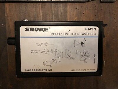 Shure FP11 Microphone to Line Amplifier No  AC Adapter