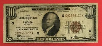 1929 $10 Brown Seal National Currency Chicago X127 VG/FINE! Old US Currency