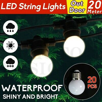 20M LED String Lights 20Pcs LED Bulbs Festoon Wedding Party Outdoor/Indoor Patio