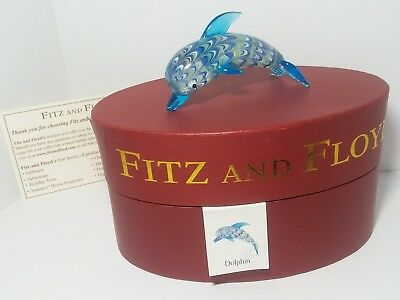 FITZ AND FLOYD Glass DOLPHIN Handcrafted Figurine BLUE Green SWIRL New In BOX